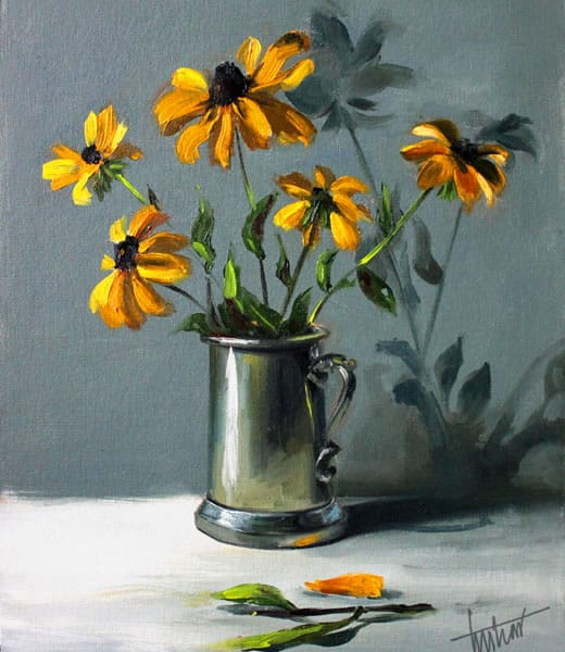 Rudbeckia in pewter tankard